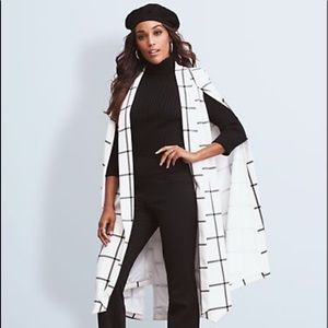 NWT Ivory plaid cape jacket in XS/S